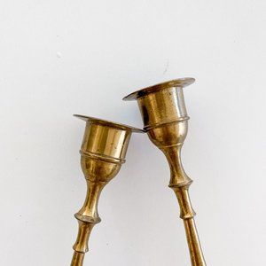 Vintage Accents - Vintage Brass Gold Pair of Candlesticks
